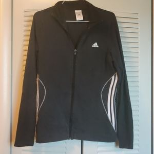 ADIDAS Black Zip Up Long Sleeve Track Jacket L